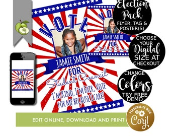 Editable election campaign poster, class voting flyer, class president, vice president, school vote tag, student election, Voting tag