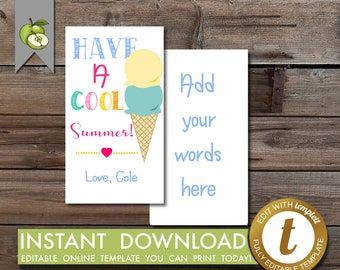 cool summer gift tag, squishies, ice-cream, editable tag, ice tag, graduation tag, last day of kindergarten, squeeze, Teacher tag, Printable