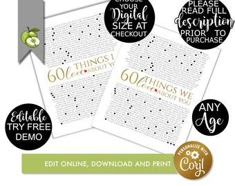 60 reasons we love you, DIY, editable Reasons, 60th birthday, template, birthday, printable, memories, retire, printable, Q2