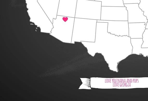 United States of America love map, edit yourself USA map, printable map,  Grandparents Christmas Gift, Grandma and Grandpa, Grandchildren