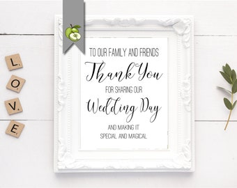 Thank You Wedding Sign, Wedding Sign, Reception Sign, wedding sign - in 3 sizes bride printable instant download whitesuite