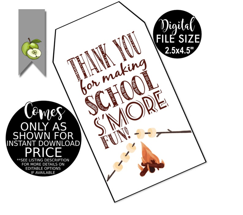 s'more gift tag, Appreciation Gift Tag, Thank you for making school s'more  fun!, Thank you, Team mom Printable, digital, Printable,