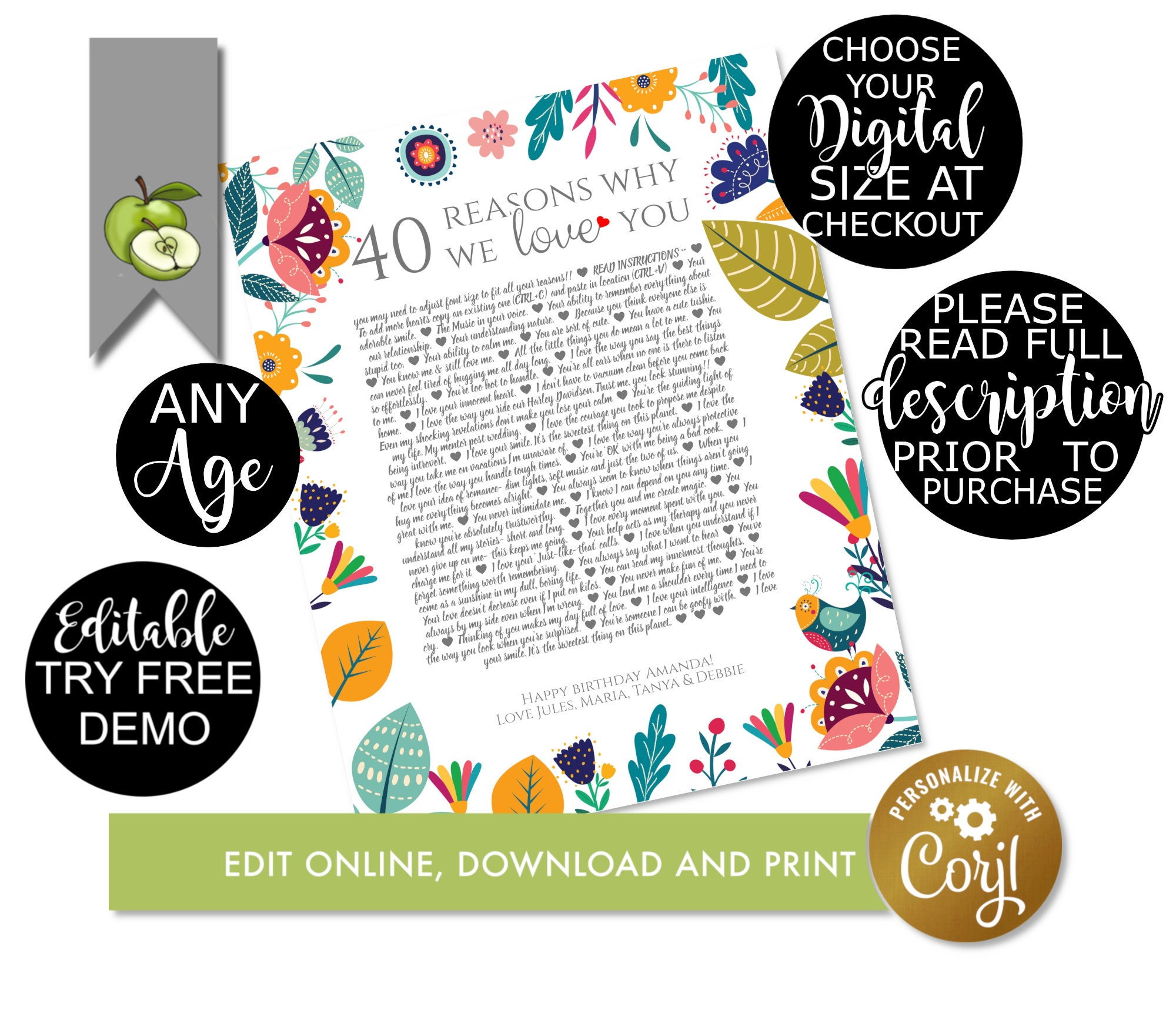40 Reasons We Love You 40 Things We Love About You 40th Birthday Editable Template Printable Digital Download Memories Love You S9 Q2