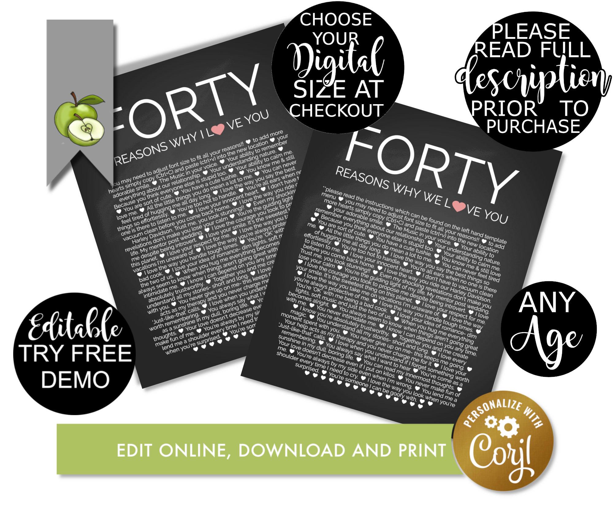 Editable 40 Reasons We Love You Diy Plainer Reasons 40th Etsy