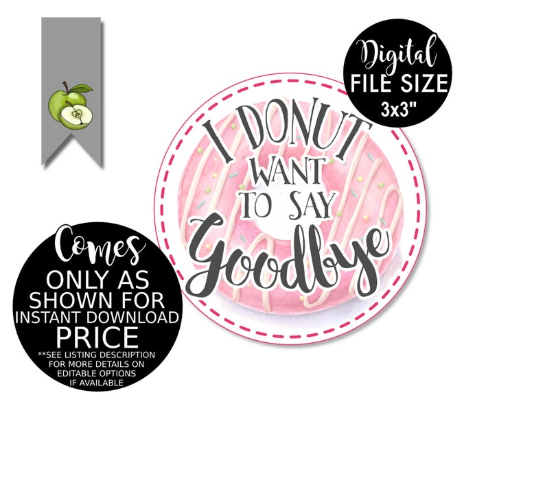 donut gift tag Thank you Teacher Printable goodbye team gift tag teacher leaving Teacher Tag Gift Tag donut want to say goodbye