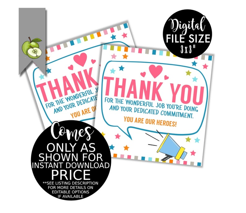 Key worker appreciation gift tag staff favour tag Thank you staff Printable great teamwork INSTANT DOWNLOAD BIG thank you