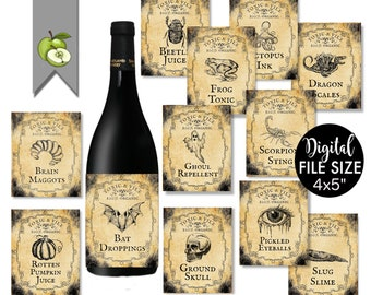 halloween Apothecary Labels, Set of 12 printable halloween wine labels, spooktacular party, halloween decorations, instant download
