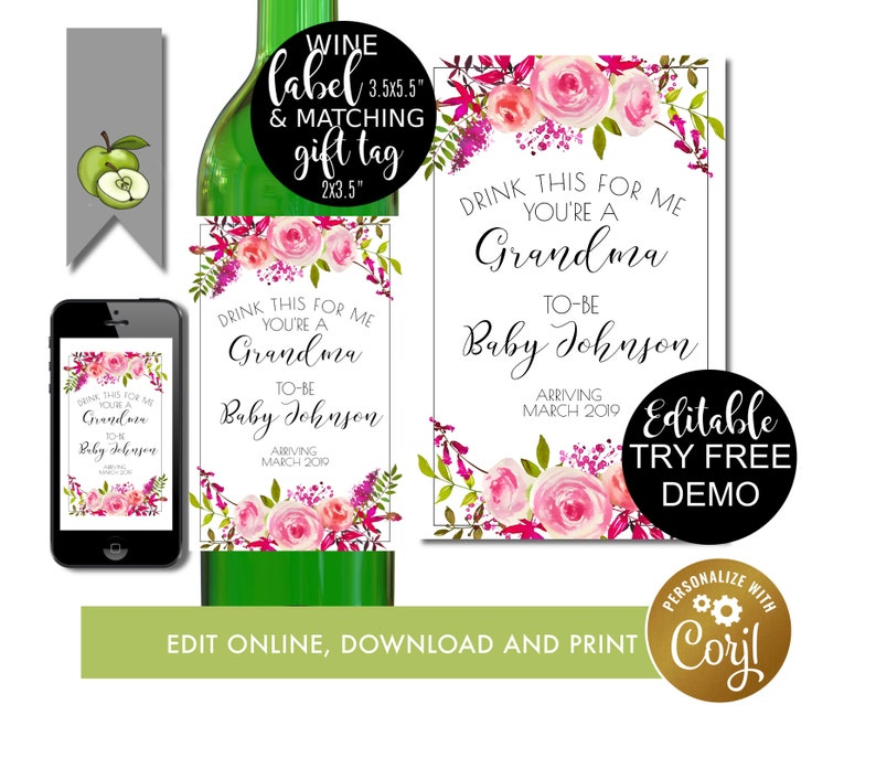 Drink This For Me You/'re A Grandma To Be Aunt Gift Sister Pregnancy Reveal printable Wine Label Promoted to Aunt Pregnancy Announcement