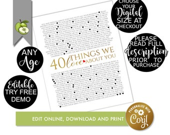 40 reasons we love you, 40th birthday editable template, digital download, 40 things we love about you, edit on corjl birthday printable, Q2