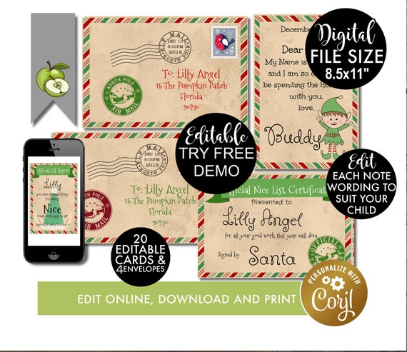 Items similar to elf christmas letters to kids, EDITABLE