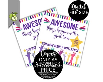 Great Team staff appreciation gift tag, Great team, Thank you staff, staff favour tag, Printable, INSTANT DOWNLOAD, great teamwork