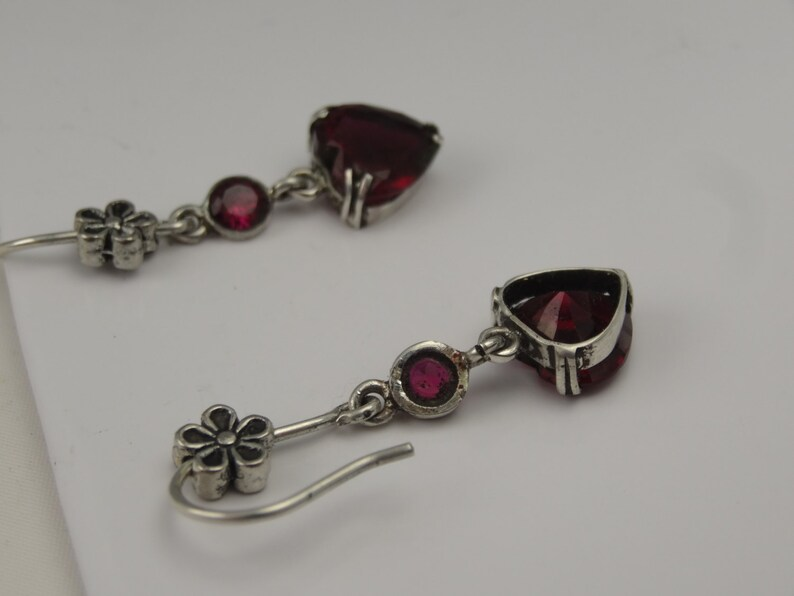 Scrumptious rhodolite crystal and 925 silver heart earrings