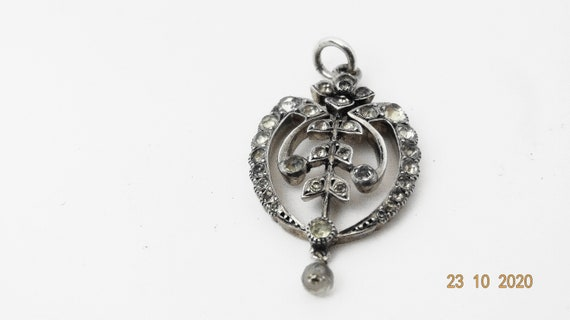 Antique Edwardian silver and paste pendant