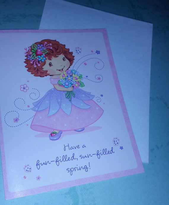Strawberry shortcake new happy spring greeting card with etsy image 0 m4hsunfo