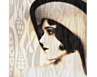1920s with retro print, digital print, photomontage, modern art, flapper vintage fashion model, Art Deco, home decor, fine art, contemporary
