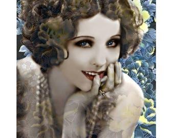1920 s model vintage goddess, digital print, photomontage, digital art, silver screen actress, 1920's flapper, fine art print, wall art.