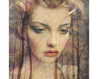 Demure Goddess, digital print, photomontage, digital art, modern art, fine art print, modern portrait, abstract, home decor, wall art