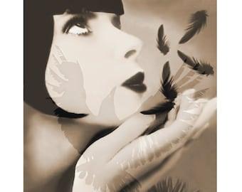 Feather vintage goddess, digital print, photomontage, digital art, Clara Bow, 1920 s movie star, vintage print, modern art, beige, art deco