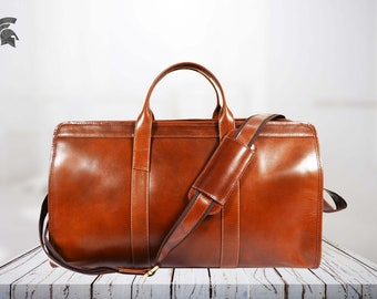 44de7018e5a8 Genuine Leather Travel Bag