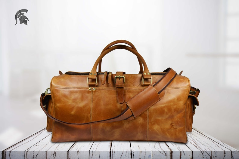 Brown Leather Travel Bag Weekend bag Leather Duffel  ab7e827bc9ffd