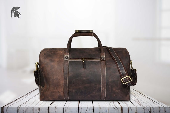 486c1f21df59 Brown Leather Travel Bag Weekend bag Leather Duffel Bag
