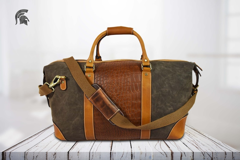 269adf2e37 Green Leather weekender bag duffel bag Leather travel bag