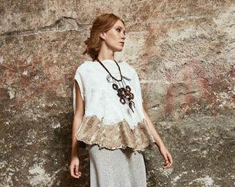 Nuno felted shirt. Silk chiffon, merino extrafine wool, mulberry silk.