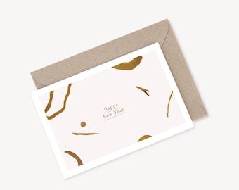 "Greeting Card ""HAPPY NEW YEAR #2 + kraft envelope"