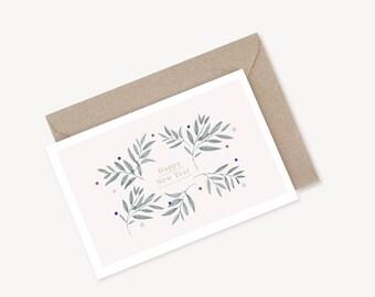 "Greeting Card ""HAPPY NEW YEAR #3 + kraft envelope"
