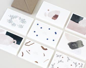 Set of 8 Greeting cards + kraft envelopes HAPPY NEW YEAR
