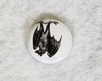 hanging bat button, white