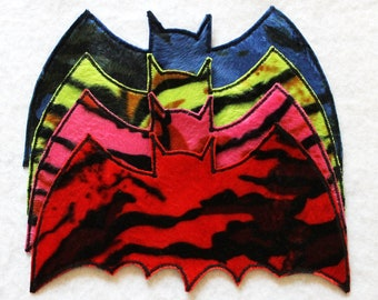 Selection: BATcave bat - tiger red, light green, pink and blue