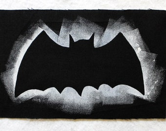 Batcave Silhouette patch, approx. 25 cm x 15 cm, black and white