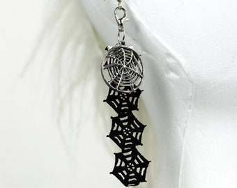 Spiderweb earring pair, black-silver, UNIKAT
