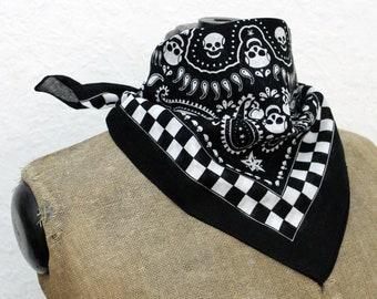 Skull Bandana, black and white