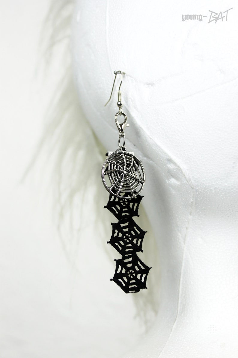 Spiderweb earring black spider nets interchangeable image 0