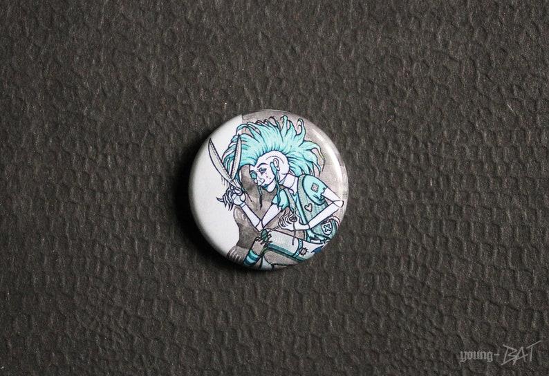 DIY-Button white-black turquoise image 0