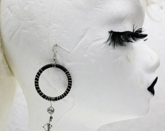 1 Round Hanging Earring: Death - Suspended Skeleton