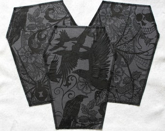 Selection: Backpatch in coffin shape - black-grey, raven and romantic goth
