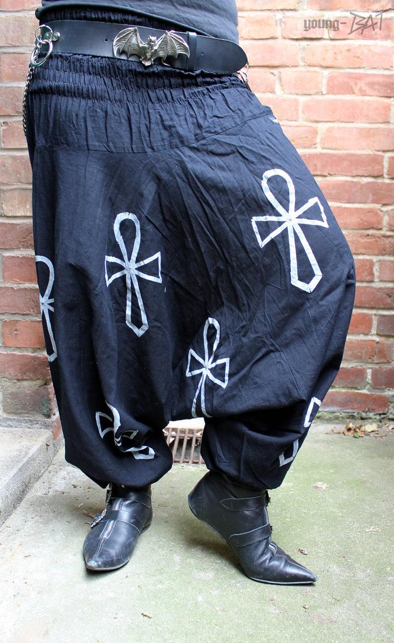 ANKH Harem Pants white print Size XS-XL image 0