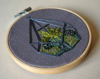 Terrarium Embroidery Kit // Craft Kit // DIY Gift // Cactus // Succulent // Beginner Embroidery