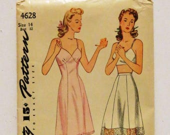 Vintage 1940s Simplicity 4628 slip half slip pattern with directions all pieces unused size 14 bust 32
