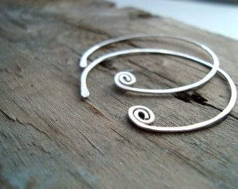 Large Sterling Wire Everyday Hoops- Tribal Style, Celtic, Gifts Under 30, Silver, Artisan Jewelry, Metalwork, Simple, Zen