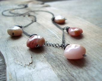 Pink Opal Briolette Necklace October Birthstone Oxidized Sterling Silver Fall Fashion Gemstone Jewelry Wire Wrapped Gifts Under 60