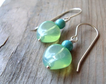 Green Glass and Turquoise Earrings December Birthstone Spring Summer Fashion Small Dangles Gifts Under 25 - Ocean Breeze