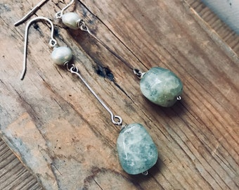 Aquamarine Stick Earrings With Pearl Sterling Silver Metalworked Gemstone Jewelry Modern Gifts Under 50 March Birthstone