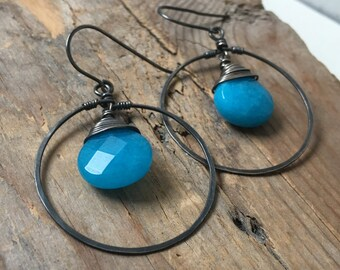 Large Hoop Earrings - Turquoise Candy Jade. Oxidized Sterling Silver Spring Fashion Earthy Gemstone Jewelry Gifts Under 50 Retro