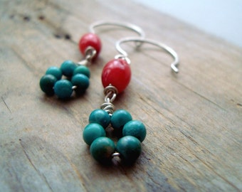 Coral and Turquoise Loop Earrings Sterling Silver Red and Aqua Southwestern Style Beachy Jewelry December Birthstone Small Dangles