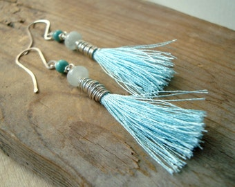 Aqua Tassel Earrings With Aquamarine Boho Chic Jewelry March Birthstone Summer Jewelry Sterling Silver Wire Wrapped Statement Earrings