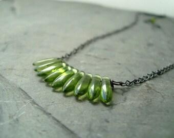 Green Dagger Necklace Vintage Glass Oxidized Sterling Silver Modern Minimalist Retro Gifts Under 40 Metalwork Fall Fashion